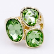 Gold Plated With 3 Green Crystal Stretch Ring