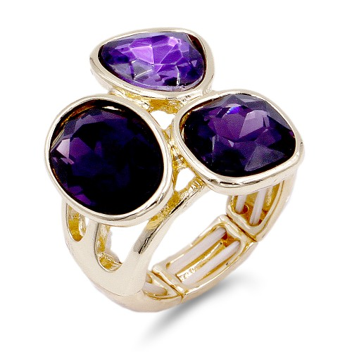 Gold Plated With 3 Purple Crystal Stretch Ring