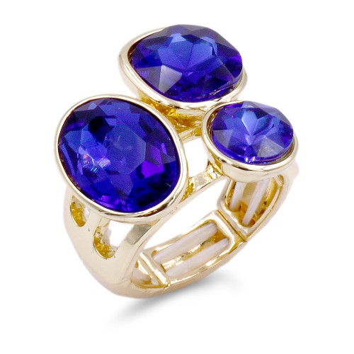 Gold Plated With 3 Blue Crystal Stretch Ring
