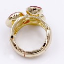 Gold Plated With 3 Red Crystal Stretch Ring
