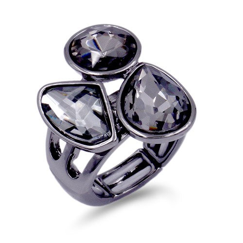 Gunmetal Plated With 3 Black Diamond Crystal Stretch Ring