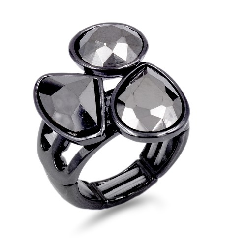 Gunmetal Plated With 3 Hematite Crystal Stretch Ring