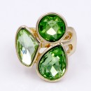 Gold Plated With 3 Green Color Crystal Stretch Ring