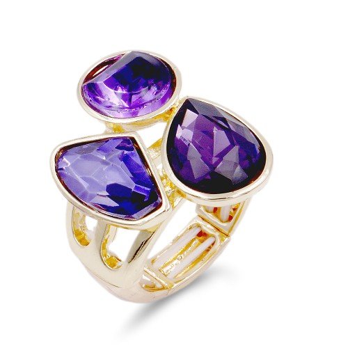 Gold Plated With 3 Purple Color Stretch Ring