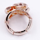 Gold Plated With 3 Peach Crystal Stretch Ring