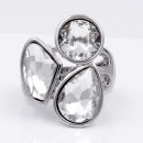 Rhodium Plated With 3 Clear Crystal Stretch Ring