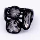 Jet Black Plated With 3 Black Diamond Crystal Stretch Ring