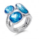 Rhodium Plated 3 Aqua Crystal Stretch Ring