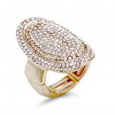 Gold Plated With Red Crystal Stretch Ring