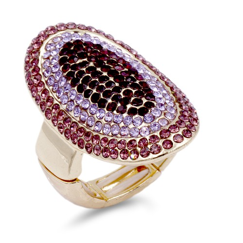 Gold Plated With Mix Purple Crystal Stretch Ring