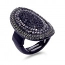 Jet Black Plated With Jet Crystal Stretch Ring