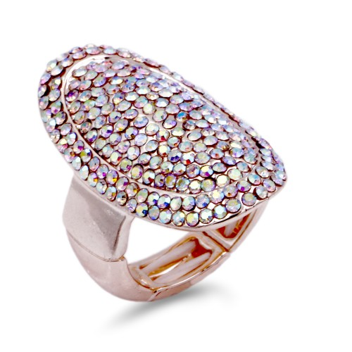 Rose Gold Plated With Clear AB Crystal Stretch Ring