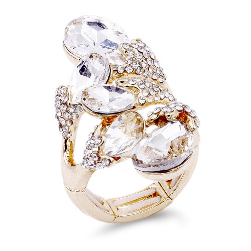 Gold Plated 5 Crystals water drop shape with CZ Stretch Ring