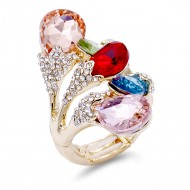 Gold Plated 5 Colors Crystal drop shape w/. CZ Stretch Ring