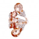 Rose Gold Plated 5 Crystals drop shape with CZ Stretch Ring