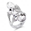 Rhodium Plated 5 AB Crystals drop shape with CZ Stretch Ring