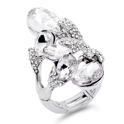 Rhodium Plated 5 Crystals drop shape with CZ Stretch Ring