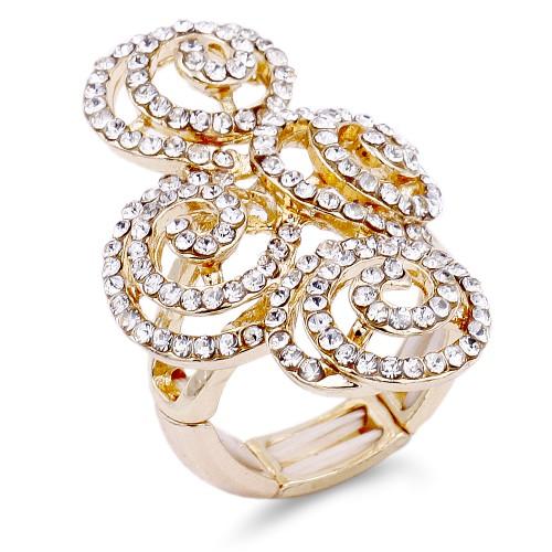Gold Plated Clear Swirl Shape w./ CZ Stretch Ring