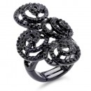 Jet Black Color Swirl Shape wih CZ Stretch Ring