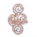 Rose Gold Plated Swirl Shape wih CZ Stretch Ring
