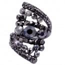 Gunmetal Plated with Black Diamond Stone, Stretch Ring