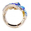 Gold Plated Blue AB Stone Fashion stretch Ring