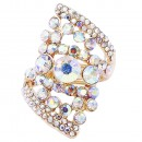 Gold Plated AB Stone Fashion stretch Ring