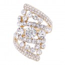 Gold Plated Clear Stone Fashion stretch Ring