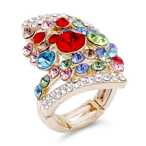Gold Plated Multi-Color Stone Fashion stretch Ring