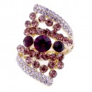 Gold Plated Purple Stone Fashion Stretch Ring