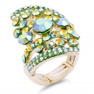 Gold Plated Green AB Stone Fashion stretch Ring