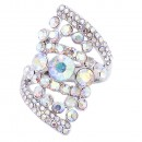 Rhodium Plated AB Stone Fashion stretch Ring