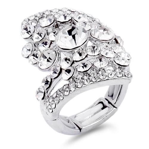 Rhodium Plated Clear Stone Fashion stretch Ring