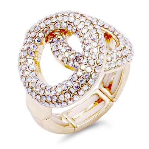 2 Circles shape Gold Plated with AB Stone Stretch Ring