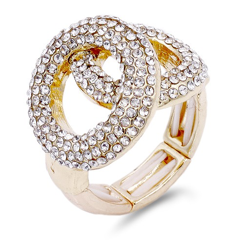 2 Circles shape Gold Plated with Clear Stone Stretch Ring