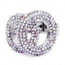 2 Circles shape Rhodium Plated w./ AB Stone Stretch Ring