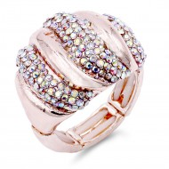 Unique Fashion Rose Gold Plated with AB Stone Stretch Ring
