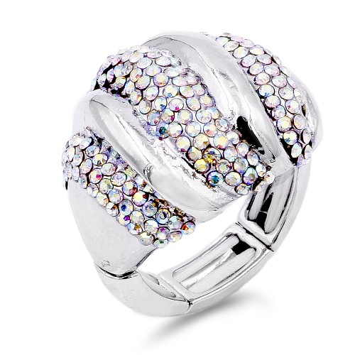 Unique Fashion Rhodium Plated with AB Stone Stretch Ring