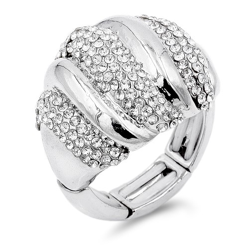 Unique Fashion Rhodium Plated with Clear Stone Stretch Ring
