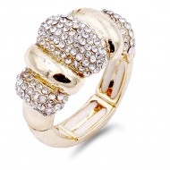 Classic Fashion Gold Plated with Clear Stone Stretch Ring
