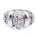 Classic Fashion Rhodium Plated with AB Stone Stretch Ring