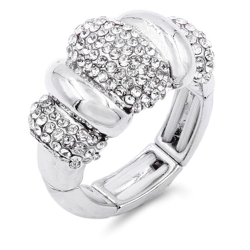 Classic Fashion Rhodium Plated with Clear Stone Stretch Ring