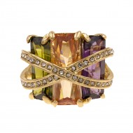 Gold Plated With Multi Color CZ Cocktail Ring