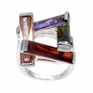 Rhodium Plated Multi-Color Cubic Zirconia Cocktail Ring