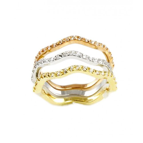 Tri-Tone Plating 3 PCs Wave Band Rings