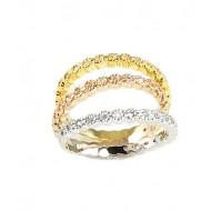 3-Tones with Cubic Zirconia Wedding Rings