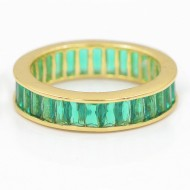 Gold Plated With Emerald Green Cubic Zirconia Wedding Eternal Statement Rings