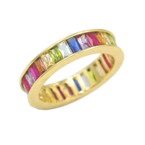 Gold Plated with Multi Color CZ Cubic Zirconia Wedding Eternal Statement Rings