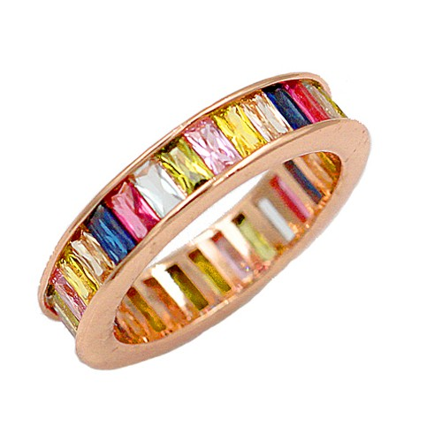 Rose Gold Plated With Multi Color CZ Cubic Zirconia Eternity Band Sized Rings