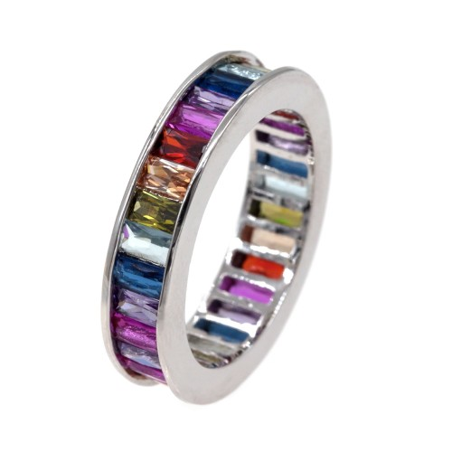 Rhodium Plated with Multi-Color Cubic Zirconia Wedding Eternal Statement Rings